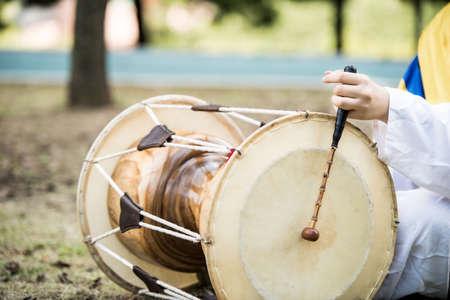 janggu traditional musical instrument of Korea drum, closeup