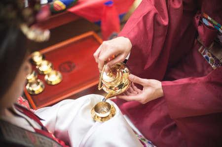 Traditionele bruiloft in Korea Stockfoto