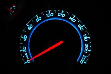 scaler: The speedometer dashboard of the car close-up Stock Photo