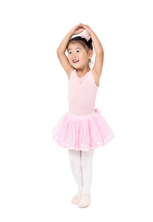 Little Girl Ballerina to raise hands up