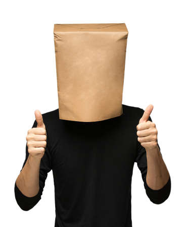 young man covering his head using a paper bag.