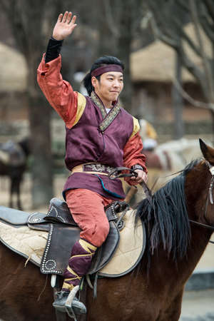 feats: Seoul, South Korea - January 28, 2016: Participant a the Equestrian Feats act, a short acrobatic horseback routine executed by a team of five self-trained athletes on jan 28 2016 in Seoul South Korea Editorial