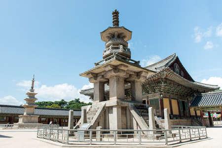 Gyeongju, South Korea - August 18, 2016: The stone pagoda Dabotap in Bulguksa temple, South Korea. Zdjęcie Seryjne