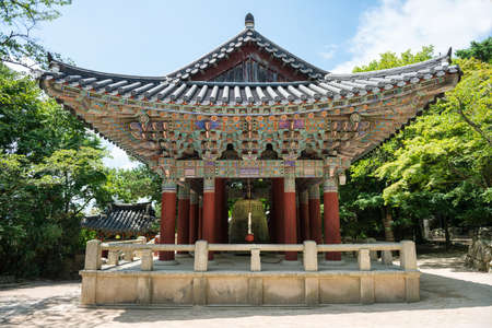 a traditional korean: Gyeongju, South Korea - August 18, 2016 : A traditional Korean building at the Bulguksa temple in South Korea. Stock Photo