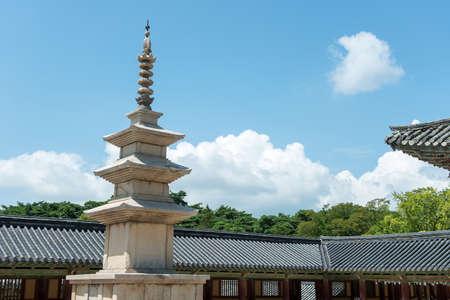 Gyeongju, South Korea - August 18, 2016: The stone pagoda Seokgatap in Bulguksa temple, South Korea.