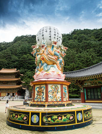 Chungcheongbuk-do, South Korea - August 29, 2016: Guinsa temple in Sobaek Mountains, Dragon statue and sky