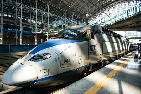 Gwangmyeong-si, South Korea - November 2, 2016: High-speed bullet trains (KTX) and Korail trains stop at the Seoul station in South Korea. Editorial