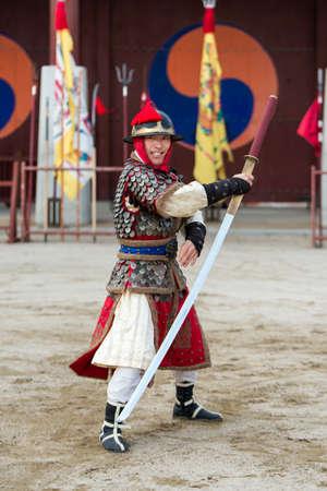 Suwon, South Korea - December 23, 2016 : Korean soldier with traditional Joseon dynasty during show martial arts at Hwaseong haenggung square. Photo taken on December 23, 2016 in Suwon, South Korea