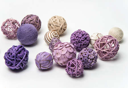Natural handmade decorative balls of various shapes