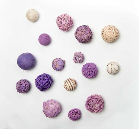 Natural handmade decorative balls of various shapes