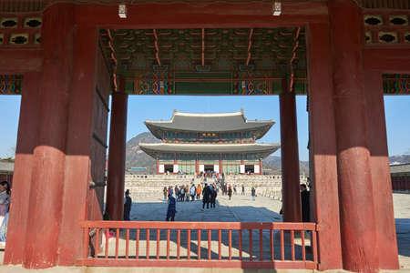 Seoul, South Korea - January 17, 2019: January 17, 2019 the palace doors in the palace in Seoul, South Korea.  One of the three doors in the palace Heunginjimun Gate