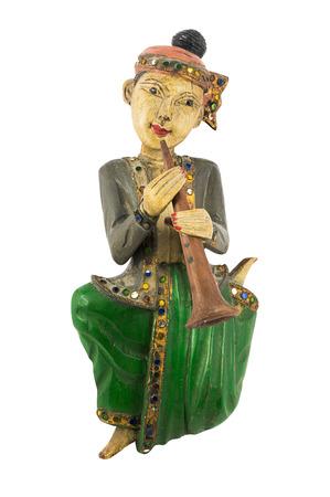 clarinet: Talla de madera mu�eca juego clarinete asi�tico vendimia