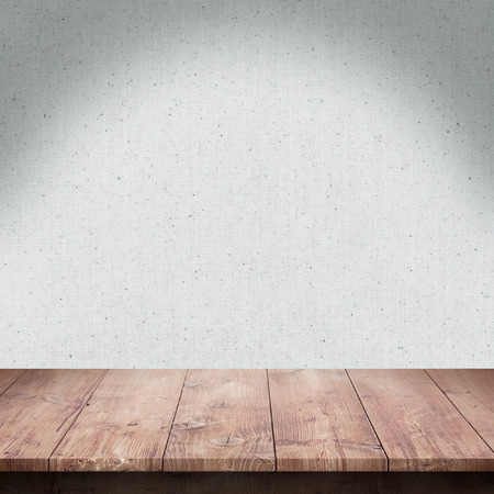 kitchen: Wood table with Fabric texture background Stock Photo