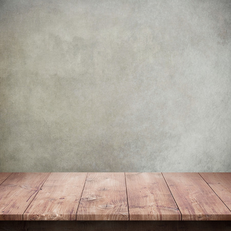 Wood table with concrete texture background Stock Photo