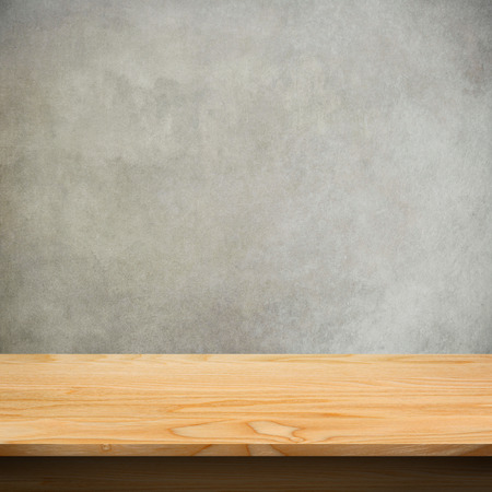 surface: Wood table with concrete texture background Stock Photo