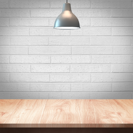 Wood table with Lamp and brick wall background 版權商用圖片 - 39715640