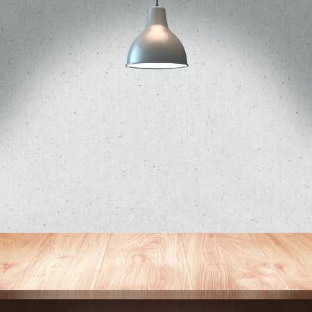 Wood table with Lamp and wall background Zdjęcie Seryjne - 39715648
