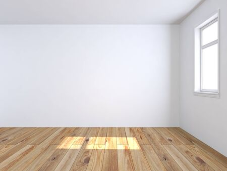 Empty white room with wooden floor