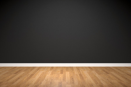 Blank black wall and wooden floor Standard-Bild