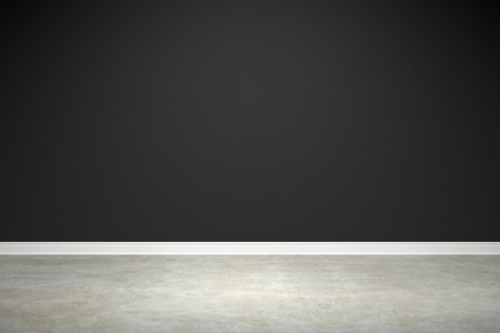 Blank black wall and concrete floor