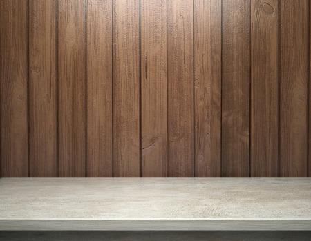 Wit beton tafel met houten plank muur Stockfoto