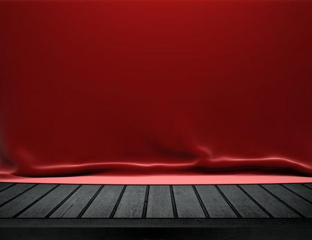 wooden desk: Houten tafel met rode fluwelen doek achtergrond Stockfoto
