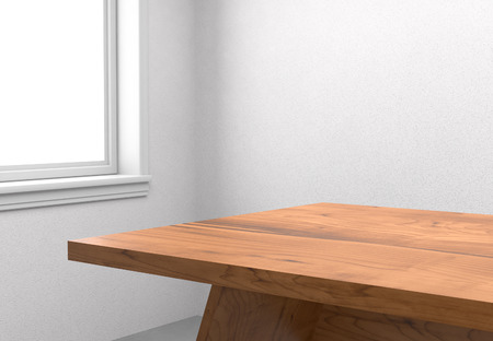 Wooden table with blank window Standard-Bild