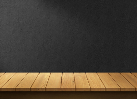 Wood table with black wall background 版權商用圖片 - 45507594