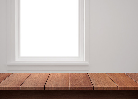 Wood table with window background