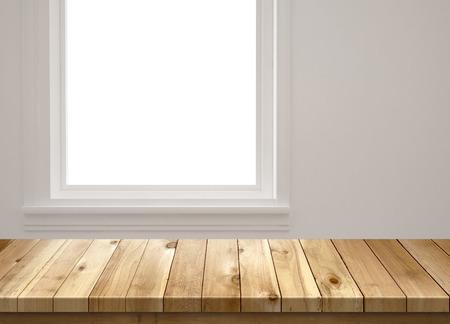 Wood table with window background 版權商用圖片 - 45796260