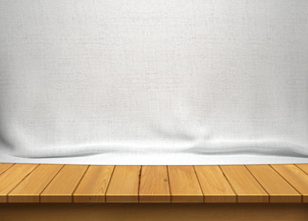 Wood table with white fabric background Фото со стока - 45798355