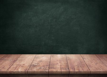 黒板の背景の木のテーブル 写真素材 - 45947979