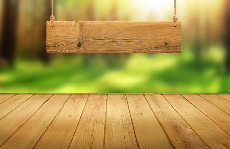 Wood table with hanging wooden sign on green forest blurred background Stock Photo