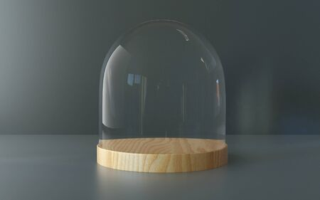 dome: Glass dome with wooden tray on dark background