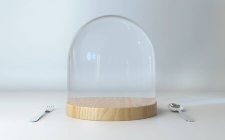 dome: Glass dome on wooden tray with spoon and fork on white table background