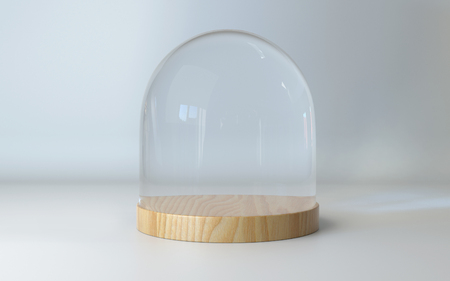 dome: Glass dome with wooden tray on white background