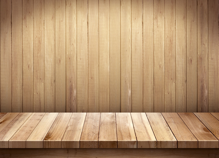 Empty wooden table on wooden background Banco de Imagens