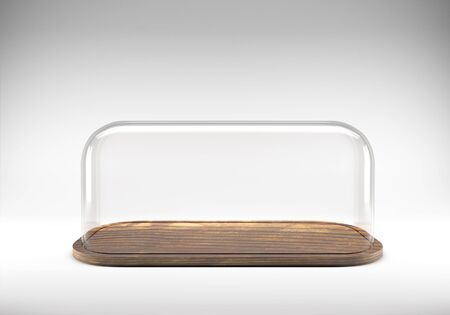 dome: Glass dome with wooden tray Stock Photo