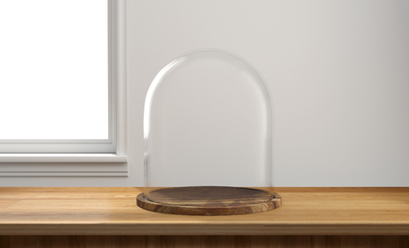 dome: Glass dome with wooden tray on wooden table and window light background