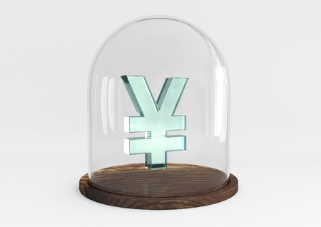 yen sign: 3D yen sign crystal protected under a glass dome isolated on white background