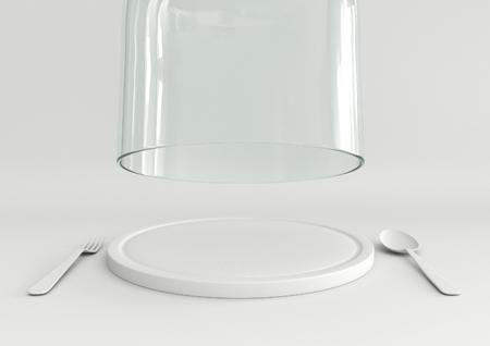 dome: Open glass lid and tray with spoon and fork on white color