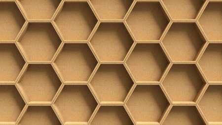 art contemporary: Wooden hexagon pattern background Stock Photo