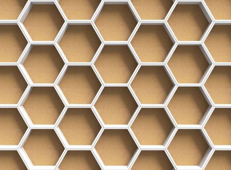 chipboard: White hexagons on wooden background
