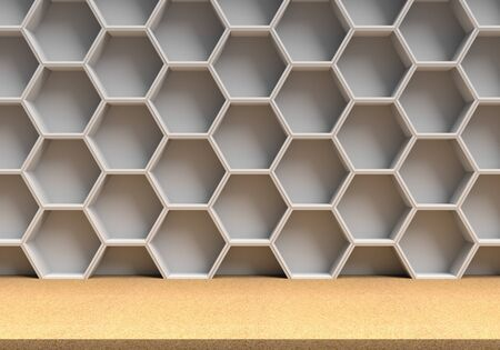 wood table: Wood table and white hexagons background