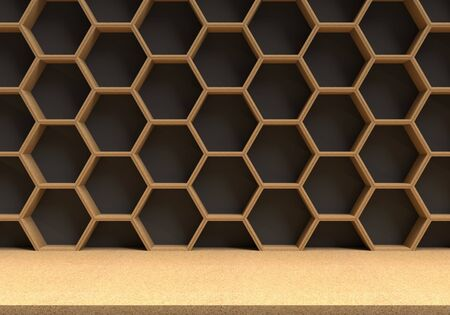 chipboard: Wood table with wood hexagons background