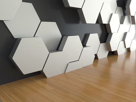Wooden floor with white hexagons pattern on dark wall background, 3D rendering