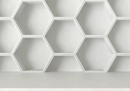 architecture design: White concrete table and hexagons shelf background, 3D rendering