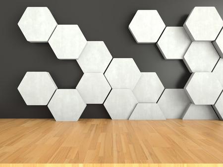 Houten vloer met witte zeshoeken patroon op donkere muur achtergrond, 3D-rendering Stockfoto