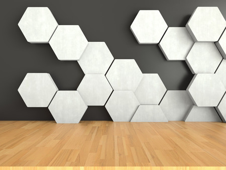 wood floor: Wooden floor with white hexagons pattern on dark wall background, 3D rendering