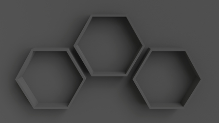 wall design: Empty dark hexagons shelves on dark wall background, 3D rendering